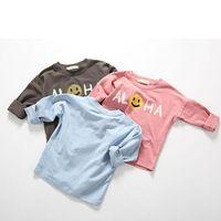 Ins Kids Shirts Girl Top Boys Long Sleeve Shirt Girls Enfant Pattern Smiling Face Cotton Cloth New Arrival Korea  Cicishop