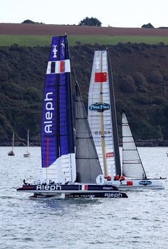 Aleph and China Team racing in Plymouth Sound. America's Cup World Series