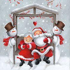 20serviettes 33x 33cm Noël Père Noël et mère Noël Bonhomme de neige d'hiver: De Serviettes De Table et aussi pour la technique du…