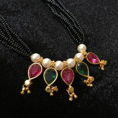 KOPM - 5 pearl pendants with mulit-colored stones and Moti Bridal Jewelry, Beaded Jewelry, Beaded Necklace, Gold Jewellery, Jewelery, Thread Jewellery, India Jewelry, Necklaces, Jewelry Design Earrings