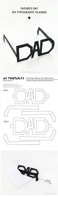 DIY Father's Day Cards {The Best FREE Printable Paper Crafts just for DAD!} Fathers Day Cards FREE Printables - DIY Typography Glasses Paper Craft via Mr Printables - Print them in whatever color you want Mr Printables, Father's Day Printable, Printable Paper, Fathers Day Crafts, Happy Fathers Day, Papa Tag, Diy Father's Day Cards, Daddy Day, Father's Day Diy