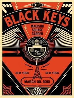The Black Keys - silkscreen concert poster (click image for more detail) Artist: Shepard Fairey Venue: Madison Square Garden Location: NYC, NY Concert Date: Size: x Edition: sig Gig Poster, Poster Prints, Club Poster, Art Print, The Black Keys, Tour Posters, Band Posters, Madison Square Garden Concert, Concert Rock