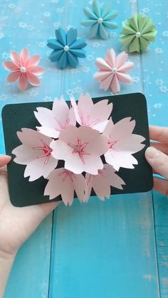 DIY beautiful flower card - a simple tutorial that shows you how to make a . - DIY beautiful flower card – A simple tutorial that shows you how to make a beautiful flower card. Diy Crafts Hacks, Diy Crafts For Gifts, Diy Arts And Crafts, Creative Crafts, Crafts For Kids, Diy Crafts With Paper, Card Crafts, Handmade Crafts, Paper Flowers Craft