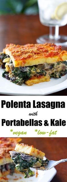 Kale and portabella mushrooms are mixed with a creamy vegan cheese sauce before being baked between two layers of polenta in this vegan polenta lasagna.