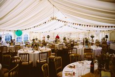 Marquee Bunting Balloons Eclectic Crafty Village Hall Wedding http://www.edgodden.co.uk/