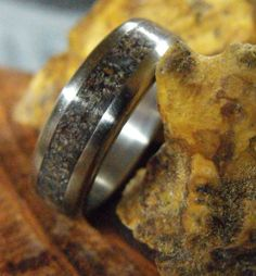 Titanium and Granite Inlay Ring by RobandLean on Etsy Titanium Granite, Titanium Rings For Men, Unique Mens Rings, Meteorite Ring, Engagement Rings For Men, Everyday Rings, Wedding Band Sets, Boyfriend Gifts, Just For You