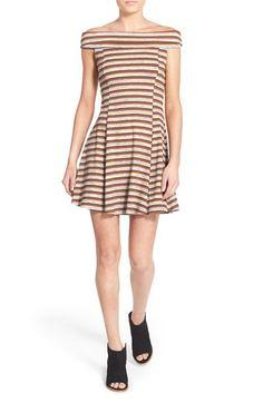 Lush Stripe Off the Shoulder Skater Dress