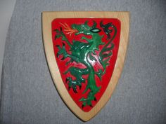 Dragon Shield Intarsia and Mosiac Tile Plaque by dreamwvr81, $25.00