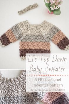 El's Top Down Sweater, a FREE crochet pattern for this cute raglan-style baby sweater. El's Top Down Sweater, a FREE crochet pattern for this cute raglan-style baby sweater.,CRAFTS – Crochet & Knitting both Paid. Crochet Baby Sweater Pattern, Crochet Baby Sweaters, Baby Sweater Patterns, Crochet Clothes, Baby Knitting, Crochet Baby Jacket, Baby Boy Sweater, Free Knitting, Crochet For Boys