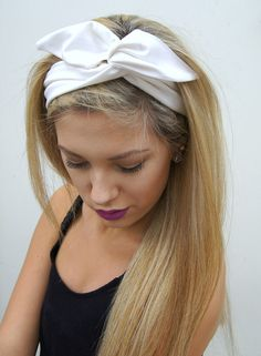 Rockabilly Headband  Wired Dolly Bow  PIN UP Fabric by Nachibands, $12.00