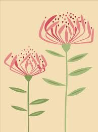 protea design - Google Search Sketch Drawing Images, Sketches, Painted Leaves, Painted Rocks, Protea Flower, Australian Native Flowers, Simple Line Drawings, Native Design, African Textiles