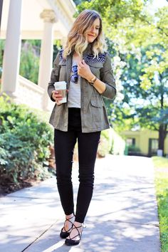 Cargo jacket & lace-up flats (Click photo for details!)