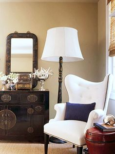 Living room: Navy, khaki, creme-love the starfish bowl