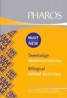 The new Pharos Bilingual School Dictionary contains more than 10 000 headwords from Afrikaans and English. This collection of headwords includes the core vocabulary from both languages.