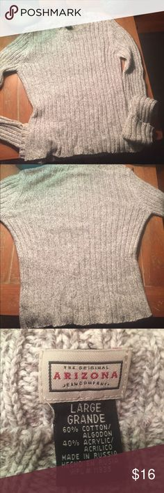 Arizona super soft ribbed style sweater This is an amazing sweater, it is super soft and has cuffed very long sleeves. It is a cream color but a heathered cream color. It is in great condition, no holes, tears, rips, or stains Arizona Jean Company Sweaters Crew & Scoop Necks