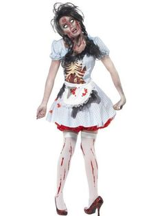 Stumble over the yellow brick road in this Zombie Country Girl Fancy Dress Costume