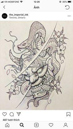 Japanese Snake Tattoo, Tattoo Japanese Style, Japanese Tattoo Designs, Japanese Sleeve Tattoos, Hannya Maske Tattoo, Oni Mask Tattoo, Tattoo On, Tattoo Life, Tattoo Sketches