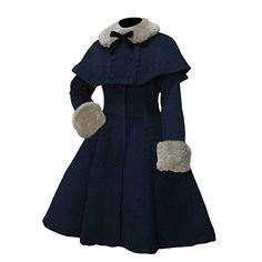 Womens Lolita Faux Fur Cape Overcoat