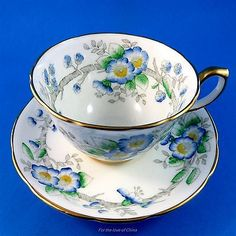Handpainted Blue Floral Hammersley Tea Cup and Saucer Set
