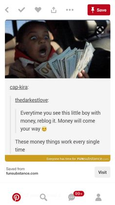 How about this- even if you don't repost, just the fact that you saw this cute child with money is enough for the charm to work. Hopefully it works for anyone who sees this!
