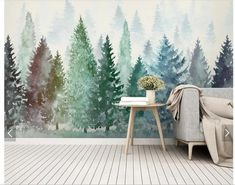 Watercolor Pine Trees Wallpaper Wall Mural, Abstract Pine Trees with Fog Wall Mural Wall Decor, Hand Painted Pine Trees Forest Wall Mural Tree Wall Murals, Wall Art, Nursery Tree Mural, Bedroom Murals, Wallpaper Wall, Tree Wallpaper Nursery, Watercolor Wallpaper, Watercolor Walls, Paper Wallpaper