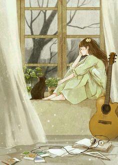 Art And Illustration, Illustration Mignonne, Illustrations, Art Anime Fille, Anime Art Girl, Bts Art, Art Mignon, Art Asiatique, Anime Scenery