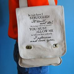 Mr Darcy's proposal messenger bag by BookFiend on Etsy, $28.95