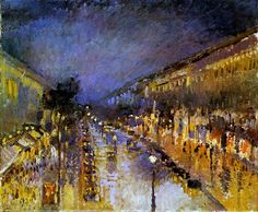 Pissarro Camille Boulevard Montmartre at Night Sun