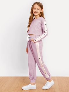 Shop Girls Crop Pullover and Snap Button Pants Set online. SHEIN offers Girls Crop Pullover and Snap Button Pants Set & more to fit your fashionable needs. Cute Lazy Outfits, Kids Outfits Girls, Girls Fashion Clothes, Tween Fashion, Teen Fashion Outfits, Girly Outfits, Celebrity Casual Outfits, Kids Mode, Kids Dress Wear