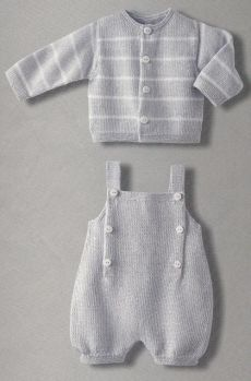 Baby Knitting Patterns Boy Adorable knitted cardigan and overalls - I wish the English translation (or my k. Baby Knitting Patterns, Knitting For Kids, Baby Patterns, Crochet Patterns, Knitted Baby Clothes, Knitted Romper, Layette Pattern, Pull Bebe, Baby Pants