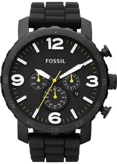 Fossil Men's JR1425 Nate Chronograph Black Silicone Watch < $107.95 > Fossil Watch Men