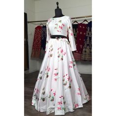 White baby satin digital printed lehenga choli