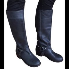 True Religion Holon Motorcycle Boots Lightly Used Black Leather True Religion boots.  Removable harness makes these hard to find boots very versatile! True Religion Shoes Combat & Moto Boots