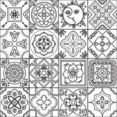 Descargar - Adulto para colorear talavera de patrones sin fisuras — Ilustración de stock