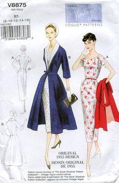 Vogue 8875 Retro 1950's 1955 Dress Coat Ensemble Reproduction Old Store Stock Uncut by LanetzLivingPatterns on Etsy