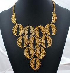"""Signed Vendome Vintage Leaf Necklace Runway Bib Signed 17"""" Long Estate Jewelry   eBay"""
