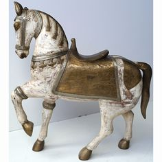 Big beautiful white Indian wooden horse coated with engraved brass - large Wooden Horse, Shimmer N Shine, Big And Beautiful, Lion Sculpture, Brass, Horses, Indian, Statue, Coat