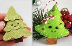 Pretty models of small Christmas trees in felt. - Pretty models of small Christmas trees in felt. Small Christmas Trees, Christmas Gifts For Girls, Noel Christmas, Simple Christmas, Christmas Crafts, Christmas Decorations, Christmas Ornaments, Diy Crafts To Do, Felt Crafts