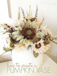 24 Pumpkin Flower Vases — how-to-make-an-artificial-pumpkin-vase Pumpkin Vase, Pumpkin Flower, Pumpkin Centerpieces, Diy Pumpkin, White Pumpkin Decor, White Pumpkins, Fall Pumpkins, Fall Flower Arrangements, Flower Vases