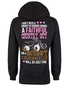 Hoodie: Faithful Country Guy on a Muddy Fourwheeler   Cute n' Country