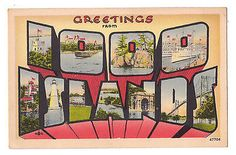 Large Letter Greetings from 1000 Islands New York postcard