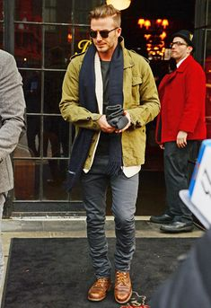 David Beckham Outfit of the Day. Becks was in New York for the Super Bowl