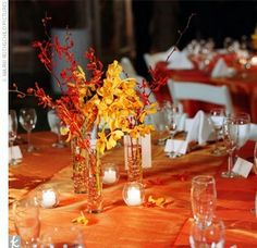 amazing fall wedding ideas for marked by harvest season, fall is a wonderful time to engage fruits, vegetables, nuts and meats in wedding events, serving traditional fall food at the recepti. Fall Wedding Table Decor, Fall Wedding Centerpieces, Fall Wedding Colors, Wedding Table Centerpieces, Wedding Flowers, Centerpiece Ideas, Orange Wedding, Wedding White, Flower Centerpieces