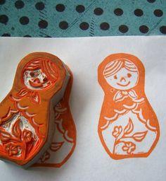 Items similar to Matryoshka Rubber Stamp on Etsy Linoleum Block Printing, Stencil Printing, Stamp Printing, Custom Return Address Stamp, Stamp Carving, Handmade Stamps, Matryoshka Doll, Custom Stamps, Textiles