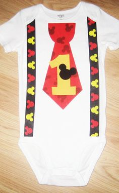 First Birthday Outfit. Mickey Mouse Birthday. Tie Onesie With Mickey Mouse Suspenders. First Birthday Party. Photo Prop Baby Boy