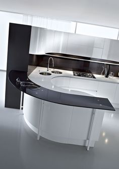 Kitchen Black Countertop On White Gloss Curve Kitchen Island And Cabinet Double Circle Kitchen Sink With Stainless Single Handle Faucet By Pedini And Dark Gloss Backsplash Gorgeous Artika Kitchen From Pedini London