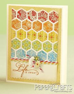 olson olson - Paper Crafts magazine Go see her site. Card Making Inspiration, Making Ideas, Patchwork Cards, Hexagon Cards, Paper Crafts Magazine, Card Patterns, Pretty Cards, Cool Cards, Creative Cards