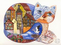 Chat  d' Alsace - Painting,  30x24 cm ©2006 von Oxana Zaika -  Malerei