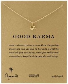 Dogeared Good Karma, Gold Happy Lotus Necklace