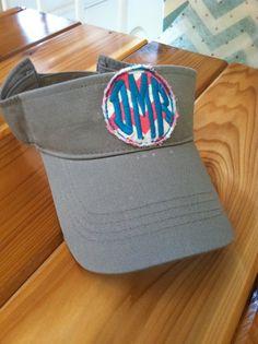 Circle monogram visor, Trendy monogram visor, beach visor on Etsy, $18.00